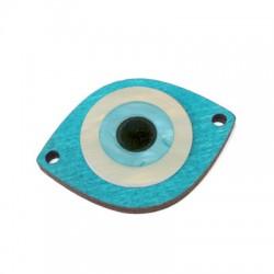 Connettore di Legno Ovale 45x35mm con Occhio Turco in Plexiacrilico