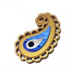 Wooden Pendant with plexi acrylic eye 35x24mm