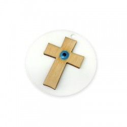 Wooden Pendant Round with Plexi Acrylic Enamel Eye 45mm
