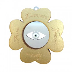 Wooden and Plexi Acrylic Pendant Four Leaf Clover with Enamel Eye 70mm