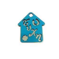 Wooden and Plexi Acrylic Pendant House with Four Leaf Clover 62x53mm