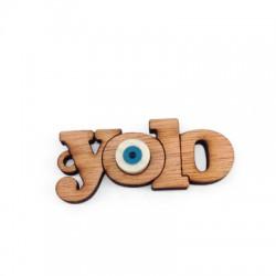 "Wooden Pendant ""yolo"" Plexi Acrylic Eye 49x22mm"