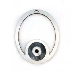 Wooden and Plexi Acrylic Pendant Oval Eye 79x63mm