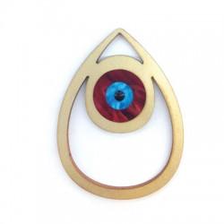 Ciondolo di Legno e Plexiacrilico Goccia con Occhio Portafortuna 79x59mm