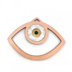 Pendentif ovale en Bois et Plexiacrylique avec œil porte-bonheur 79x63mm