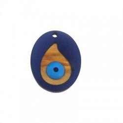 Ciondolo di Legno e Plexiacrilico Ovale con Occhio Portafortuna Smaltato 27x35mm
