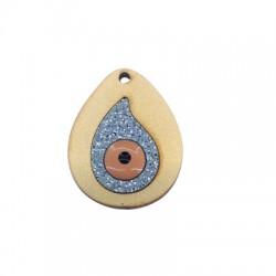 Pendentif goutte en Bois et Plexiacrylique avec œil porte-bonheur 34x28mm