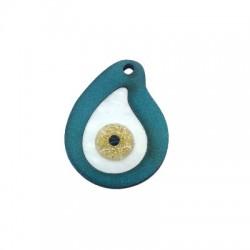 Ciondolo di Legno e Plexiacrilico Goccia con Occhio Portafortuna Smaltato 35x28mm