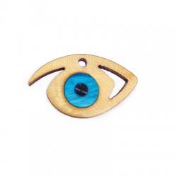 Ciondolo di Legno e Plexiacrilico Occhio Portafortuna Smaltato 33x19mm