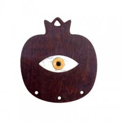 Ciondolo di Legno e Plexiacrilico Melograno con Occhio Portafortuna Smaltato 54x60mm