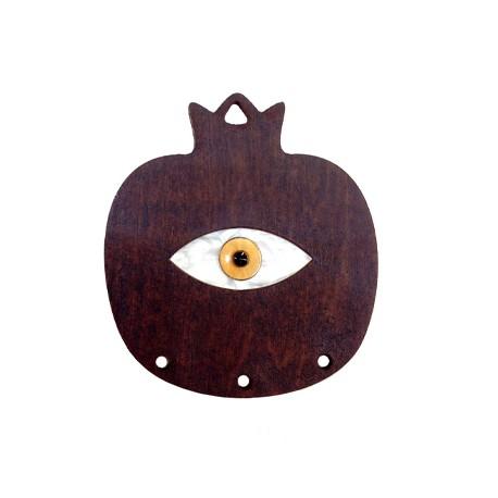 Pendentif grenade en Bois et Plexiacrylique avec œil porte-bonheur 54x60mm