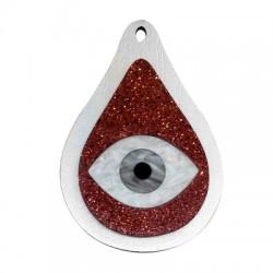 Pendentif goutte en Bois et Plexiacrylique avec œil porte-bonheur 47x70mm
