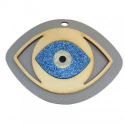 Pendentif ovale en Bois et Plexiacrylique avec œil porte-bonheur 95x70mm