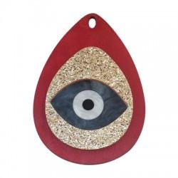 Pendentif goutte en Bois et Plexiacrylique avec œil porte-bonheur 52x75mm