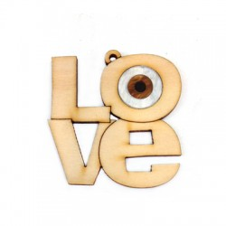 """Ciondolo di Legno e Plexiacrilico Scritta 'Love"""" con Occhio Portafortuna 50x52mm"""