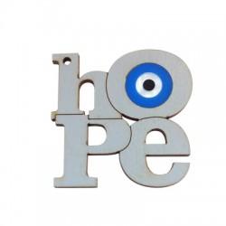 """Pendentif en Bois et Plexiacrylique avec inscription """"Hope"""" et œil porte-bonheur 50x52mm"""