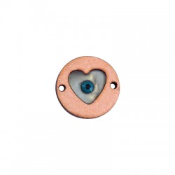 Ξύλινο Στοιχείο Στρογγυλό με Πλέξι Ακρυλική Καρδιά και Μάτι Σμάλτο για Μακραμέ 20mm