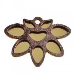 Wooden Flower Pendant Plexi Acrylic Mirror 52x40mm