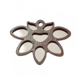 Pendentif fleur de lotus en Bois et Plexiacrylique 45x34mm