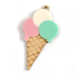 Wooden Pendant Ice Cream With Plexi Acrylic 59x34mm