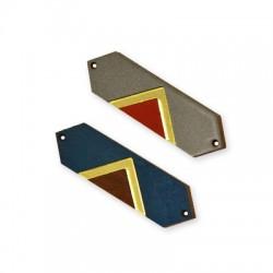Ξύλινο με Πλέξι Ακρυλικό Στοιχείο Γεωμετρικό 59x18mm