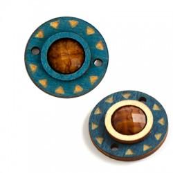 Ξύλινο Στοιχείο Στρογγυλό με Ακρυλική Πέτρα για Μακραμέ 23mm