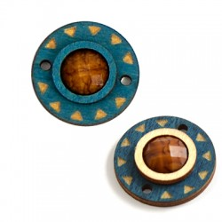 Wooden Round Pendant With Resin Stone Connector