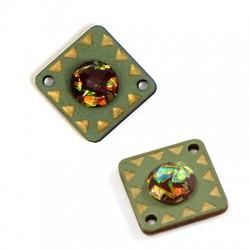 Ξύλινο Στοιχείο Τετράγωνο με Ακρυλική Πέτρα για Μακραμέ 19mm
