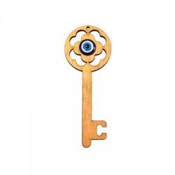 Ξύλινο Μοτίφ Γούρι Κλειδί & Ακρυλικό Μάτι 101x39mm