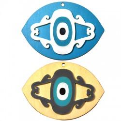 Ciondolo di Legno e Plexiacrilico con Occhio Portafortuna 50x70mm