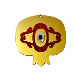 Ξύλινο με Πλέξι Ακρυλικό Μοτίφ Ρόδι με Μάτι 69x68mm