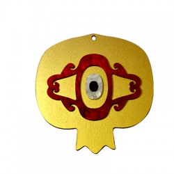 Wooden and Plexi Acrylic Lucky Pendant Pomegranate 69x68mm