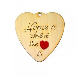 """Ξύλινο με Πλέξι Ακρυλικό Μοτίφ Καρδιά """"Home"""" 65x65mm"""