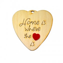 "Wooden and Plexi Acrylic Lucky Pendant Heart ""Home"" 65x65mm"