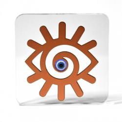 Ξύλινο με Πλέξι Ακρυλικό Επιτραπέζιο Μάτι 120mm