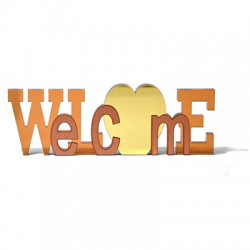 """Wooden and Plexi Acrylic Deco """"Welcome""""200x70mm"""