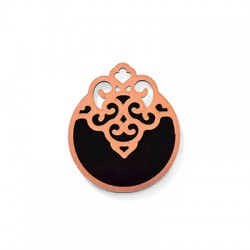 Wooden and Plexi Acrylic Pendant Round 47x54mm