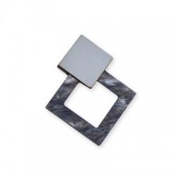 Ξύλινο με Πλέξι Ακρυλικό Μοτίφ Γεωμετρικό 54x45mm