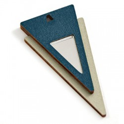 Wooden and Plexi Acrylic Pendant Triangle 63x32mm