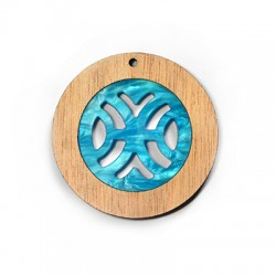 Wooden and Plexi Acrylic Pendant Round 50mm