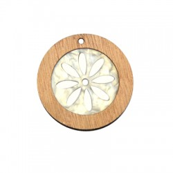 Wooden and Plexi Acrylic Pendant Round 40mm