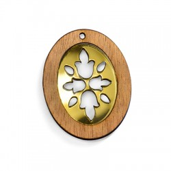 Wooden and Plexi Acrylic Pendant Oval 39x50mm