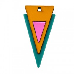 Plexi Acrylic and Wooden Pendant Triangle 31x62mm