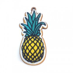 Wooden and Fabric Pendant Pineapple 30x68mm