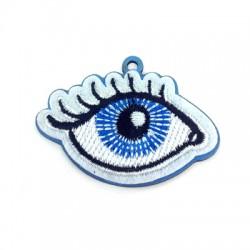 Υφασμάτινο Μοτίφ Μάτι με Ξύλινη Βάση 34x54mm