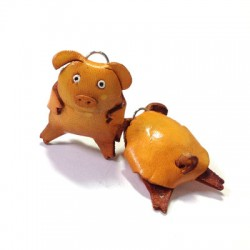 Leather Pendant Pig 40mm
