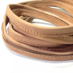 Leather Flat Cord Stitched 10mm (0.7mtr)