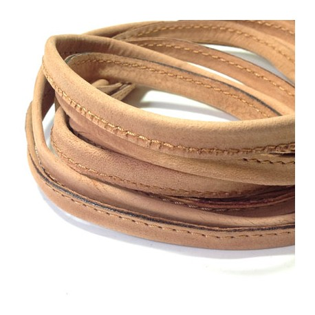 Leather Cord Flat Stitched 10mm (length 0.7mtr)