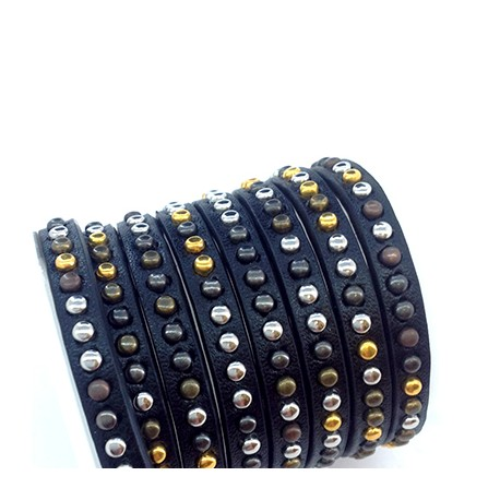 Synthetic Flat Cord with Studs 5mm (~1mtr/pack)