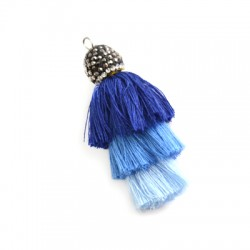 Polyester Tripple Tassel with Strass Cap  ~50mm